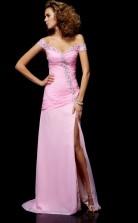 Pink Chiffon Sheath/Column Off The Shoulder Short Sleeve Floor-length Bridesmaid Dresses(JT2850)