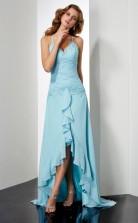 Pool Chiffon Sheath/Column Halter Floor-length Bridesmaid Dresses(JT2853)