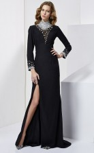 Black Chiffon Sheath/Column High Neck Long Sleeve Floor-length Bridesmaid Dresses(JT2854)
