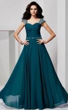 Ink Blue Chiffon A-line Sweetheart Short Sleeve Floor-length Prom Formal Dresses(JT2856)