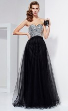 Black Tulle A-line Sweetheart Floor-length Bridesmaid Dresses(JT2858)