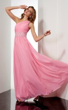 Candy Pink Chiffon A-line One Shoulder Floor-length Bridesmaid Dresses(JT2859)