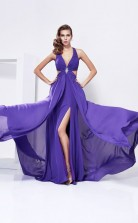 Purple Chiffon Trumpet/Mermaid v-neck Asymmetrical Prom Formal Dresses(JT2861)