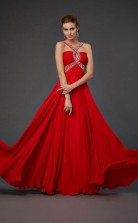 Red Chiffon A-line Halter Floor-length Bridesmaid Dresses(JT2862)