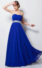 Light Royal Blue Chiffon A-line Sweetheart Floor-length Prom Formal Dresses(JT2863)