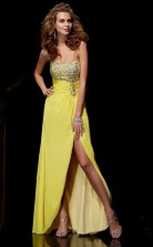 Yellow Chiffon Sheath/Column Sweetheart Asymmetrical Bridesmaid Dresses(JT2869)