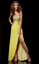 Yellow Chiffon Sheath/Column Sweetheart Asymmetrical Bridesmaid Dresses(JT2869)