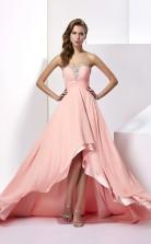 Pink Chiffon A-line Sweetheart Asymmetrical Bridesmaid Dresses(JT2870)