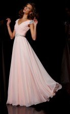 Blushing Pink Chiffon A-line v-neck Short Sleeve Floor-length Clearance Prom Dresses(JT2872)