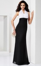 Black Chiffon Sheath/Column Halter Floor-length Clearance Prom Dresses(JT2873)