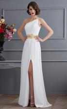 White Chiffon Sheath/Column One Shoulder Floor-length Bridesmaid Dresses(JT2874)