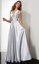 Silver Charmeuse A-line v-neck Floor-length Clearance Prom Dresses(JT2875)