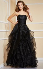 Black Organza A-line Strapless Floor-length Bridesmaid Dresses(JT2876)