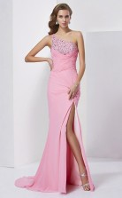 Pink Chiffon Trumpet/Mermaid One Shoulder Floor-length Bridesmaid Dresses(JT2878)