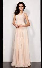 Pearl Pink Chiffon A-line One Shoulder Floor-length Clearance Prom Dresses(JT2883)