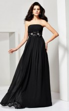 Black Chiffon A-line Strapless Floor-length Clearance Prom Dresses(JT2887)