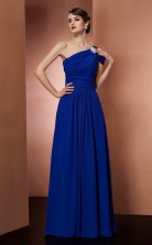 Navy Blue Chiffon A-line One Shoulder Floor-length Clearance Prom Dresses(JT2889)