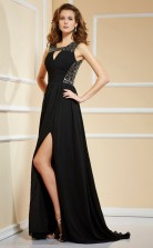 Black Chiffon A-line Square Floor-length Bridesmaid Dresses(JT2891)