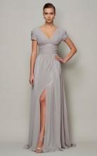 Gold Chiffon A-line v-neck Short Sleeve Floor-length Clearance Prom Dresses(JT2896)