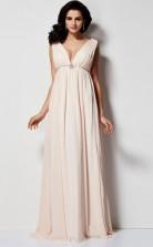 White Chiffon A-line v-neck Short Sleeve Floor-length Clearance Prom Dresses(JT2900)