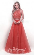 Two Piece Bright Red Halter Lace Prom Dresses JT2PUK001