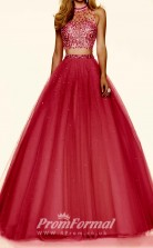 Two Piece Burgundy A line Prom Dresses with Halter Neck JT2PUK002