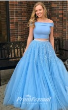 Light Ocean Blue Off Shoulder Two Piece Beaded Prom Gown Dresses JT2PUK004