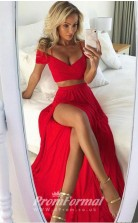 Sexy V Neck Ruby Red Two Pieces Long Prom Dress with Split Front JT2PUK006
