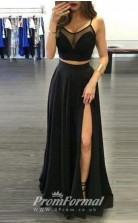 Illusion Black Two Piece Straps with Slit Front JT2PUK008