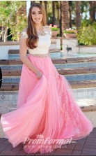 Two Piece Off the Shoulder  Watermelon Prom Dress with Side Slit JT2PUK012