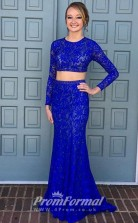 Chic Long Sleeves Blue Lace 2 Piece Prom Dress JT2PUK014