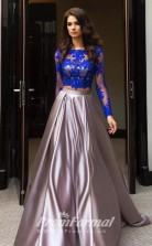 Elegant 2 Piece Prom Dress with Long Sleeved Lace and Taffeta Skirt JT2PUK016