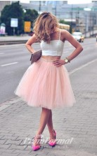 Cute Pink Short Girly 2 Piece Prom Dresses JT2PUK019