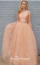 Gorgeous Sandy Brown/Soft Orange Long 2 Piece Prom Dresses JT2PUK022