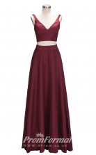 Burgundy V Neck Long 2 Piece Mother Dresses/Prom Dresses JT2PUK024
