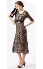 Black Lace A-line V-neck Half Sleeve Tea-length Celebrity Dress(JT3542)