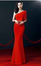 Red Chiffon Mermaid One Shoulder Short Sleeve Long Celebrity Dress(JT3545)
