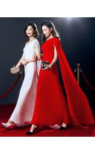 Red Chiffon Mermaid One Shoulder Short Sleeve Ankle-length Celebrity Dress(JT3546)
