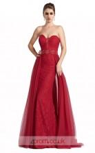 Burgundy Lace Tulle Mermaid Sweetheart Long Prom Dress(JT3548)