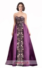 Purple Satin Lace Sheath Sweetheart Long Prom Dress(JT3549)