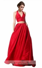 Ruby Charmeuse A-line V-neck Halter Long Two Piece Prom Dress(JT3555)