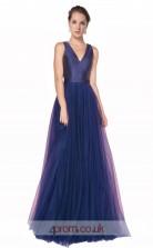 Mid Light Blue Tulle Satin A-line V-neck Long Prom Dress(JT3560)