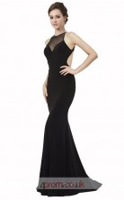 Black Satin Chiffon Mermaid Halter Long Prom Dress(JT3566)