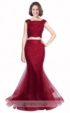 Dark Burgundy Lace Tulle Mermaid Scalloped Short Sleeve Long Two Piece Prom Dress(JT3568)