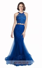 Blue Lace Tulle Mermaid Halter Long Two Piece Prom Dress(JT3570)