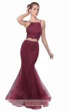 Dark Burgundy Lace Tulle Mermaid Halter Long Two Piece Prom Dress(JT3575)