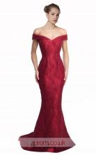 Dark Burgundy Lace Mermaid Off The Shoulder Short Sleeve Long Prom Dress(JT3579)