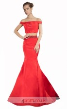 Indian Red Satin Mermaid Off The Shoulder Short Sleeve Long Two Piece Prom Dress(JT3584)