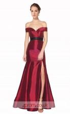 Dark Burgundy Taffeta Mermaid Off The Shoulder Short Sleeve Long Prom Dress With Split Side(JT3585)