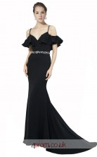 Black Satin Chiffon Mermaid Off The Shoulder Short Sleeve Long Prom Dress(JT3595)